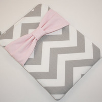 iPad Mini, Kindle, Nook, eReader Case - Gray and White Chevron with Pink Bow - Padded