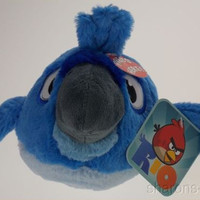 Angry Birds Rio Blu Macaw Plush Bird Sounds Blue Gray Commonwealth Toys Stuffed