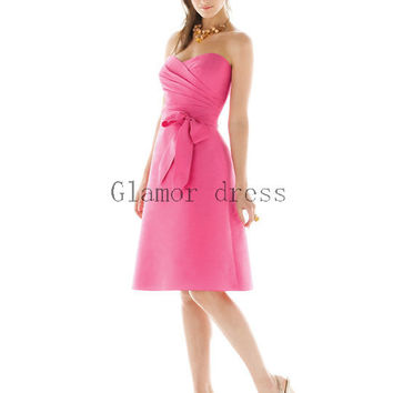 keen length bridesmaid dresses    cheap beautiful bridesmaid dress with bow    pink bridesmaid gowns under 100