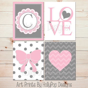 Pink Gray Girls Room Wall Art Monogram Print Heart Nursery Art LOVE print Modern Baby Girl Nursery Girl Nursey Wall Decor Nursery Quad #1242