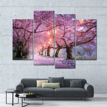 Pink Cherry Blossoms Tree Street Night Wall Art Canvas Panel Print For Living Room