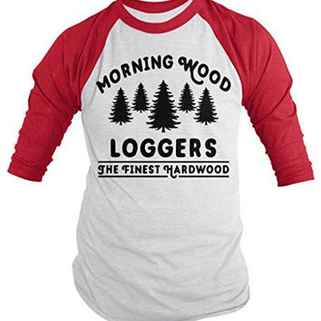 Shirts By Sarah Men's Funny Offensive Lumberjack Shirt Morning Wood Loggers 3/4 Sleeve Shirts