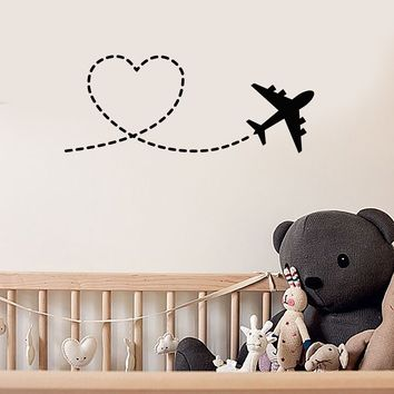 Vinyl Wall Decal Airplane Love Heart Nursery Room Decor Romantic Art Stickers Mural (ig5490)