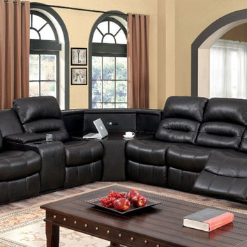 Furniture of america CM6987-CH 3 pc wales dark brown leather like fabric sectional sofa with recliners and corner table