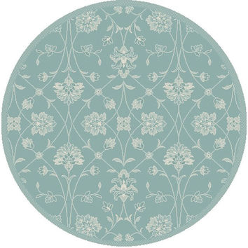 Dynamic Rugs Piazza Blue Floral Round Area Rug