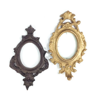 Shabby Chic Picture Frames Oval Wood Two Small Ornate Victorian
