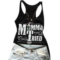 "Women's Black ""Momma Tried"" Scoop Neck Tank Top Graphic Print T-Shirt"