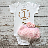 Baby Girl Baby Girl 1st Birthday Outfit Cake Smash Photography Props Gold One Bodysuit Pink Bloomers Headband LolaBeanClothing
