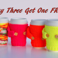 Coffee cozies set. Buy three get one free. To-go cup cozies. Neon colors. Valentine's Day gift. Starbucks cup sleeve. Pink yellow orange.