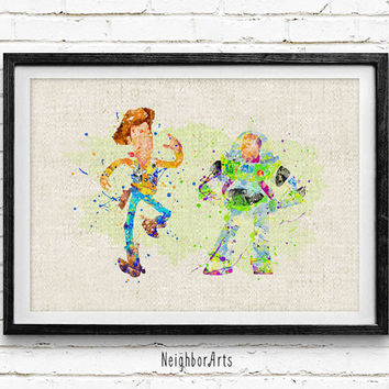 Toy Story, Buzz Lightyear and Woody, Disney, Watercolor Print, Baby Nursery Room Art, Home Decor, Not Framed, Buy 2 Get 1 Free