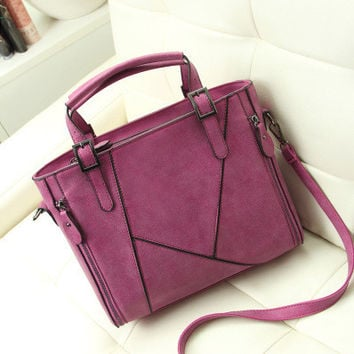 One Shoulder Fashion Casual Matte Patchwork Messenger Bags [8921714503]