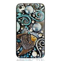 Amazon.com: Cool Summer Breeze in the Ocean Beach Collection: Iphone4/4s Case with Embossment- The Fish: Cell Phones & Accessories