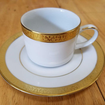Gold Buffet by Royal Gallery  Demitasse Cup & Saucer Set - MUST SEE !!!