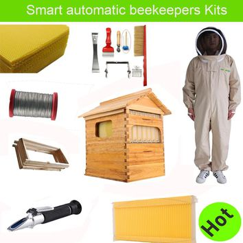 Free ship smart automatic honey flow hive set for honey bee hive honeycomb 7 frames beekeeping tools bee dress suit hive flow