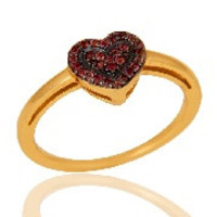 Pink Tourmaline Heart Shape Love Ring 18K Gold Plated Sterling Silver Ring