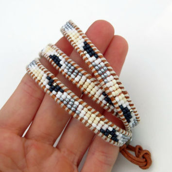 Aztec Beaded Wrap Bracelet