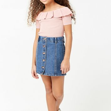 Girls Off-the-Shoulder Flounce Top (Kids)