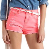 Refuge High Waist Colored Denim Short: Charlotte Russe