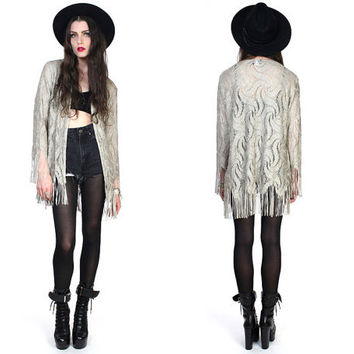 Vintage 80s Metallic Crochet Fringe Scallop Duster Jacket