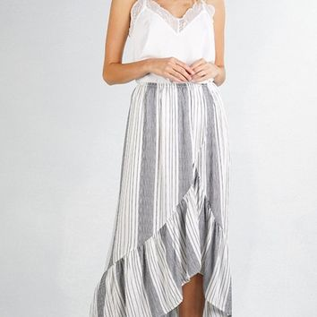 Hamptons Weekend White Blue Vertical Stripe Pattern High Low Ruffle Casual Maxi Skirt (Pre-order)