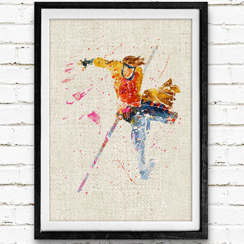 X-Men Gambit Watercolor Print, Marvel Superhero Poster, Kids Room Wall Art, Home Decor, Not Framed, Buy 2 Get 1 Free!