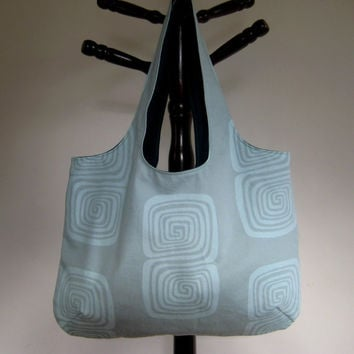 Aqua Tote Book Bag Beach Bag by moxiebscloset on Etsy