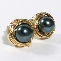 Tahitian Pearl 14k Gold Filled Wire Wrapped Stud Earrings 76 Gemstone or Swarovski Crystal Choices