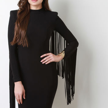Fringe Sleeve Structure Bodycon Dress