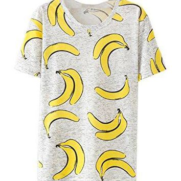 Amy Babe Women Tropical Graphic Fruits Print Heathered Loose Tee Shirt Tops