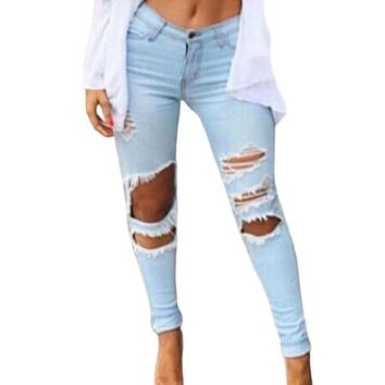 Womens Ripped Knee Zip Closure Cutting Skinny Jeans Light