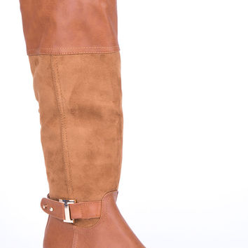 Riding Style Boots with Buckle Detail-Brown-UK 6 - EU 39