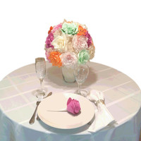Orchid Rose centerpiece, Paper flower wedding table decor, Mint green Orchid & Orange centerpiece, Bridal shower decor, Floral arrangements