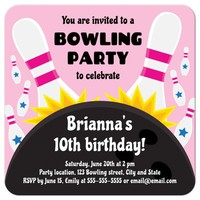 Pink bowling birthday party invite for girls with ball hitting pins