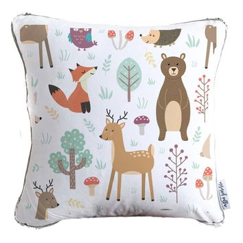 Woodland Creatures Decorative Kids Pillow w/ Reversible Gold & White Sequins | COVER ONLY (Inserts Sold Separately)