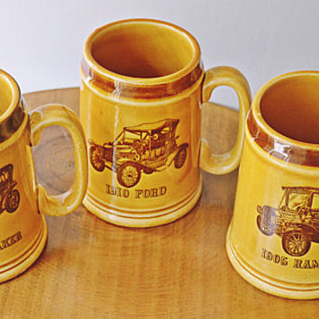 Vintage Car Mugs, Antique Car Mugs, Automobile Mugs, Made In Japan