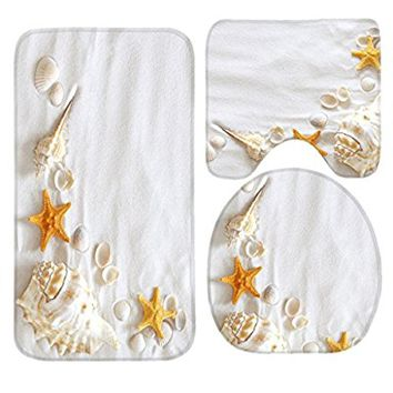 SSOIU 3 Piece Bath Mat Set Seashell White Sand Starfish Non-Slip Bathroom Mats Contour Toilet Cover Rug