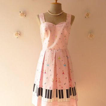 Music Lover Piano Dress Pink Dress Sweet Day Dress Bridesmaid Choir Concert Pleated Skirt Dress -Size M