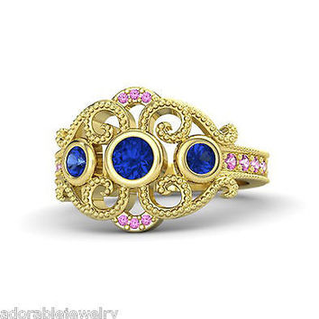 Yellow Gold Over 925 Sterling Blue & Pink Sapphire Disney Princess Wedding Ring