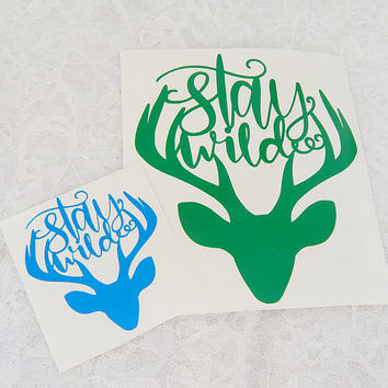 Stay Wild Deer Antler 5.5x6.5 Inch Permanent Vinyl Decal/Bumper Sticker