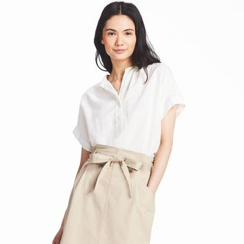 WOMEN LINEN BLENDED SHORT-SLEEVE BLOUSE