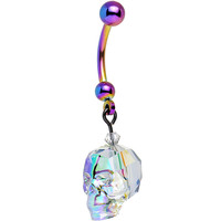 Rainbow Crystal Skull Dangle Belly Ring Created with Swarovski Crystals