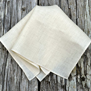 Cream Linen Handkerchief, Rolled Hem Handkerchief, Cream Pocket Square, Rolled Hem Pocket Square, Linen Pocket Square, Linen Hankerchief,
