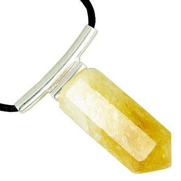Brazilian Lucky Crystal Point Terminated Citrine Business Attractor Amulet Pendant Necklace