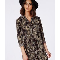 Missguided - Long Sleeve Shirt Dress Paisley Print