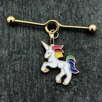 Stainless steel Unicorn Scaffold/Industrial Barbell piercing earring