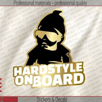 2 pcs Hardstyle Baby On Board Vinyl Bamper Sticker Decal Gold White Black BB101