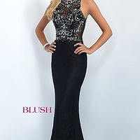 Lace Floor Length Illusion Back Prom Dress