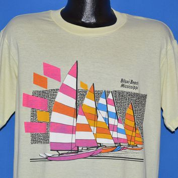 80s Biloxi Beach Mississippi Neon Sailboat t-shirt Large