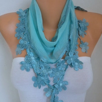 Spring Mint Floral Cotton Scarf Graduation Day Gift Shawl Necklace Cowl Bridesmaid Gift Gift Ideas For Her Women Fashion Accessories Scarves