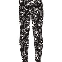 Girl's Skull Bone Printed Leggings Black/White: S/L